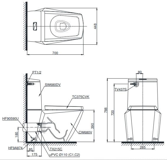 Bản vẽ kỹ thuật bồn cầu TOTO CS680PDT4