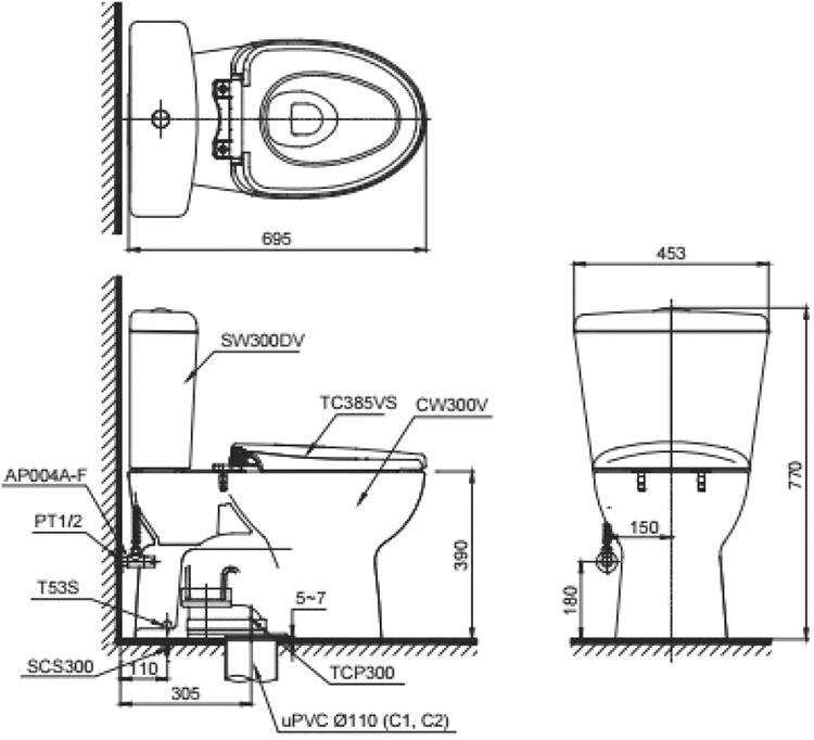 Bản vẽ kỹ thuật bồn cầu TOTO CS300DT3Y1
