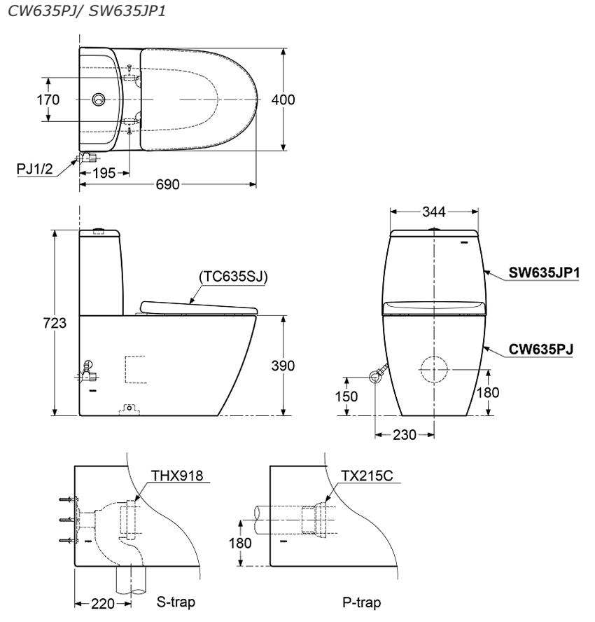 Bản vẽ kỹ thuật bồn cầu TOTO CW635PJ/SW635JP1