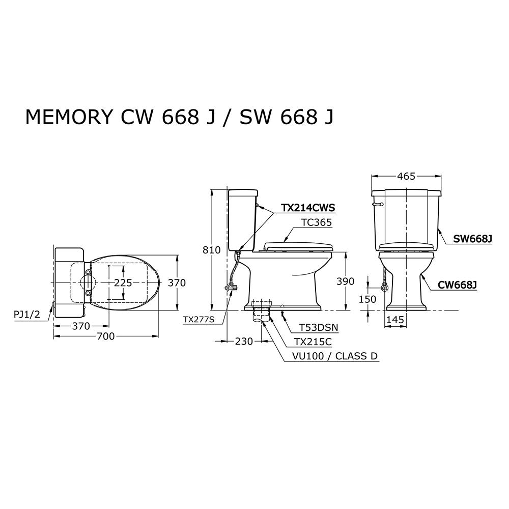 Bản vẽ kỹ thuật bồn cầu TOTO CW668J/SW668J