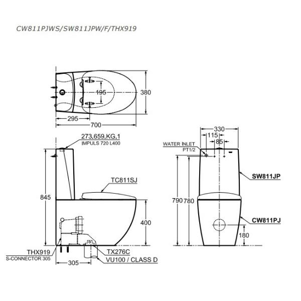 Bản vẽ kỹ thuật bồn cầu CW811PJWS/SW811JPW/F/THX919