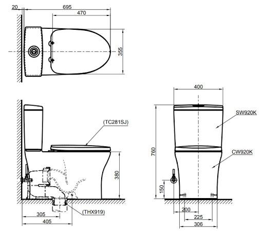 Bản vẽ kỹ thuật bồn cầu 2 khối TOTO CW920K