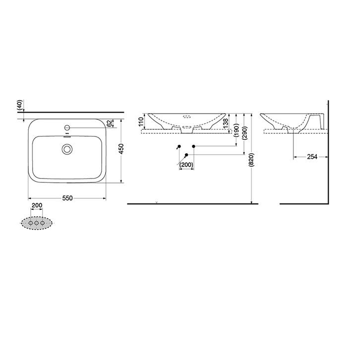 Bản vẽ kỹ thuật lavabo đặt bàn TOTO LW160CB