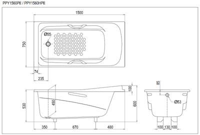 Bản vẽ kỹ thuật bồn tắm ngọc trai TOTO PPY1560HPE#P/DB501R-2P
