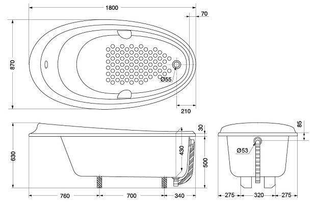 Bản vẽ kỹ thuật bồn tắm ngọc trai TOTO PPY1810HPWE#S