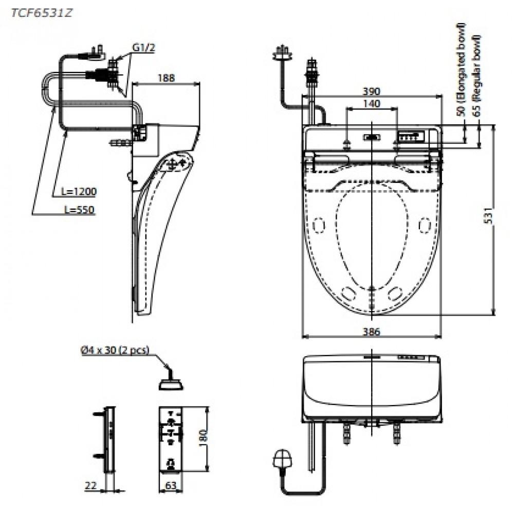 Bản vẽ kỹ thuật nắp rửa điện tử TCF6531Z