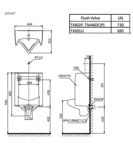Bản vẽ kỹ thuật bồn tiểu nam treo tường TOTO UT447