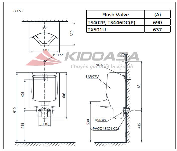 Bản vẽ kỹ thuật TOTO UT57R