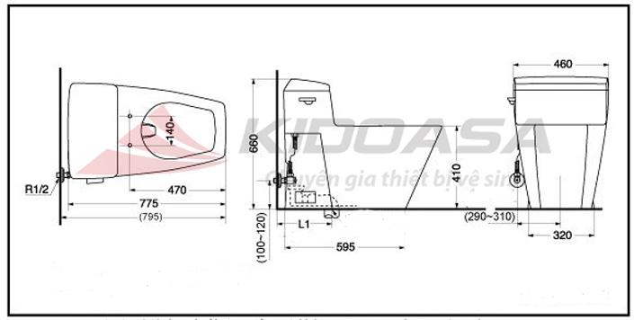 Bản vẽ kỹ thuật của TOTO CW310B#HG