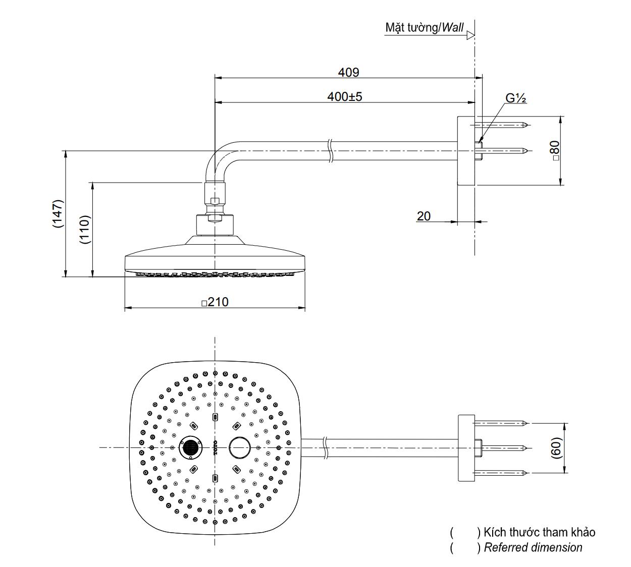 Bản vẽ kỹ thuật bát sen gắn tường 2 chế độ massage TOTO TBW02004A
