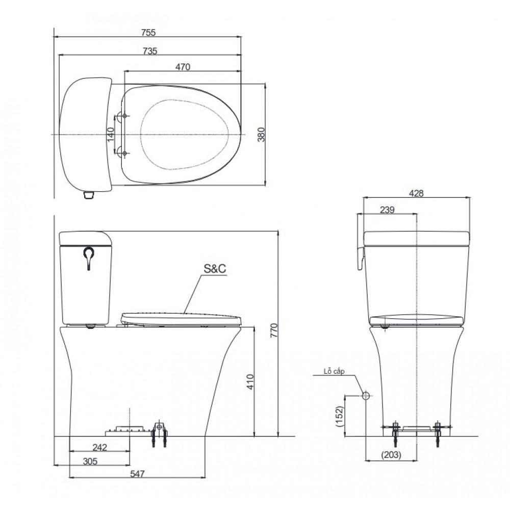 Bản vẽ kỹ thuật bồn cầu TOTO CW190K