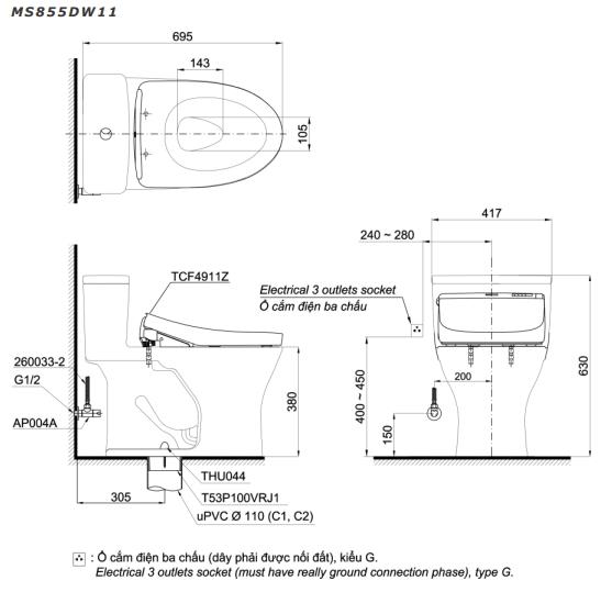 Bản vẽ kỹ thuật bồn cầu MS855DW11