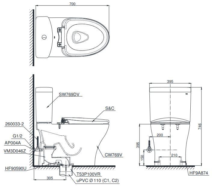Bản vẽ kỹ thuật bồn cầu CS769DRW6