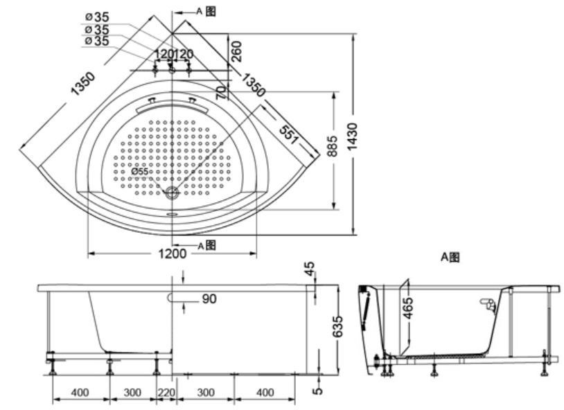 Bản vẽ kỹ thuật bồn tắm ngọc trai TOTO PPY1353-3HPE#P/DB503R-2B/NTP001E