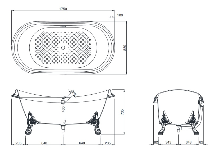 Bản vẽ kỹ thuật bồn tắm gang tráng men TOTO FBY1756PWNE