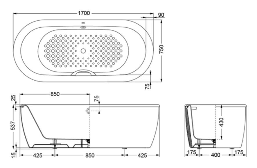 Bản vẽ kỹ thuật bồn tắm gang tráng men TOTO FBYN1716CPWE