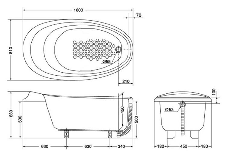 Bản vẽ kỹ thuật bồn tắm ngọc trai TOTO PPY1610PWE