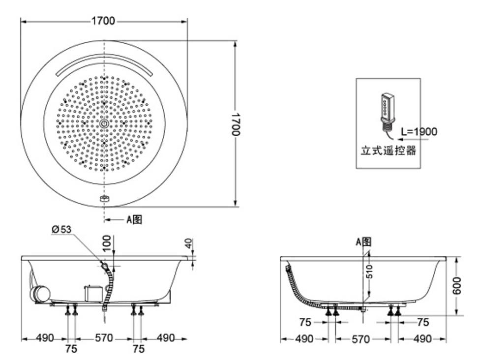 Bản vẽ kỹ thuật bồn tắm ngọc trai TOTO PPYB1720HPWE#P/NTP003E