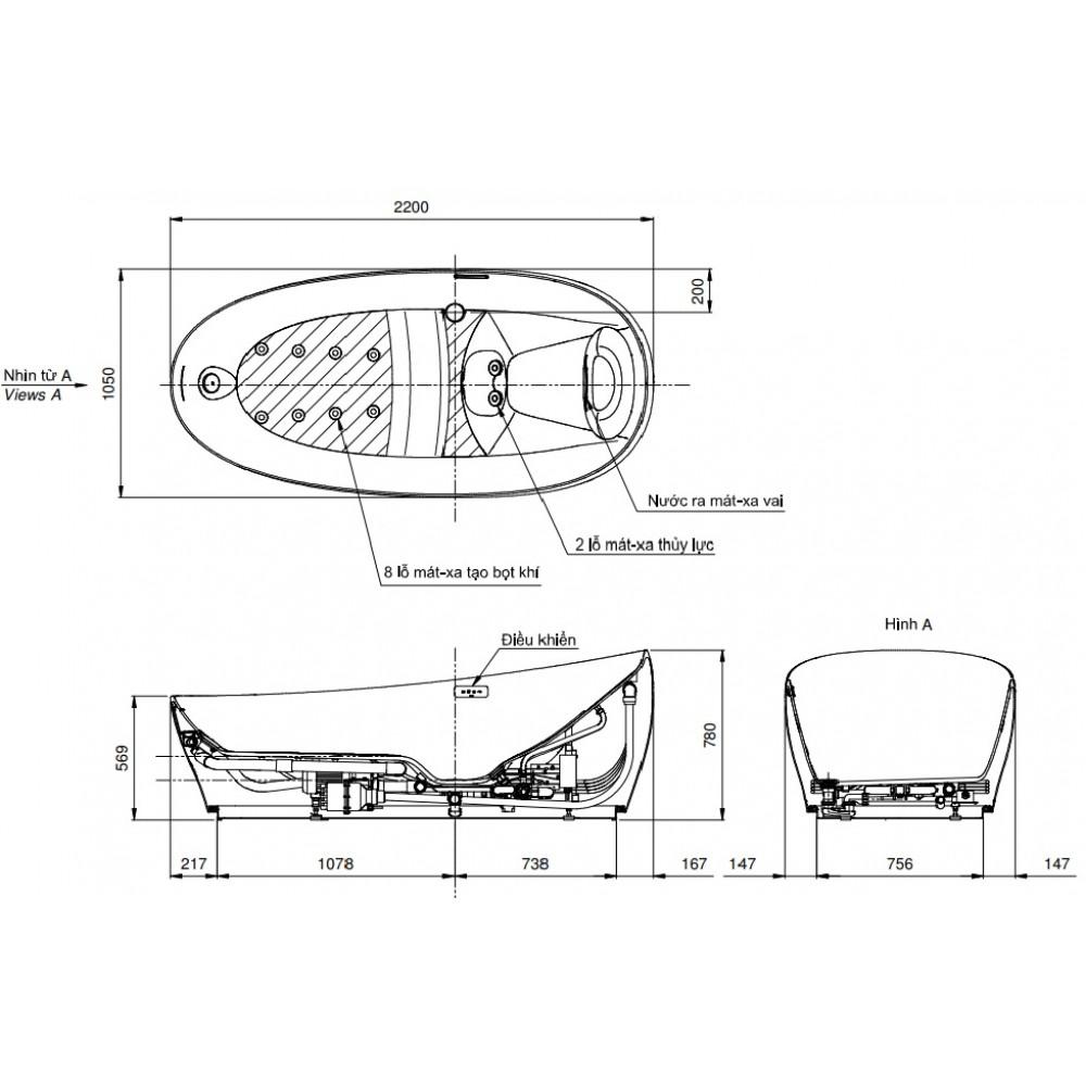 Bản vẽ kỹ thuật bồn tắm massage TOTO PJYD2200PWE#GW
