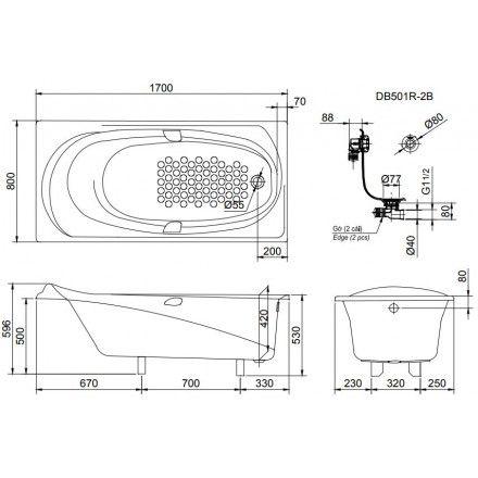 Bản vẽ kỹ thuật bồn tắm ngọc trai TOTO PPY1710HPE#P/DB501R-2B
