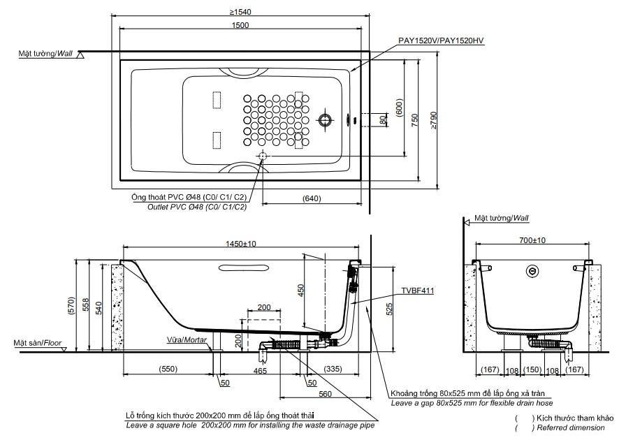 Bản vẽ kỹ thuật bồn tắm xây TOTO PAY1520HV#W/TVBF411