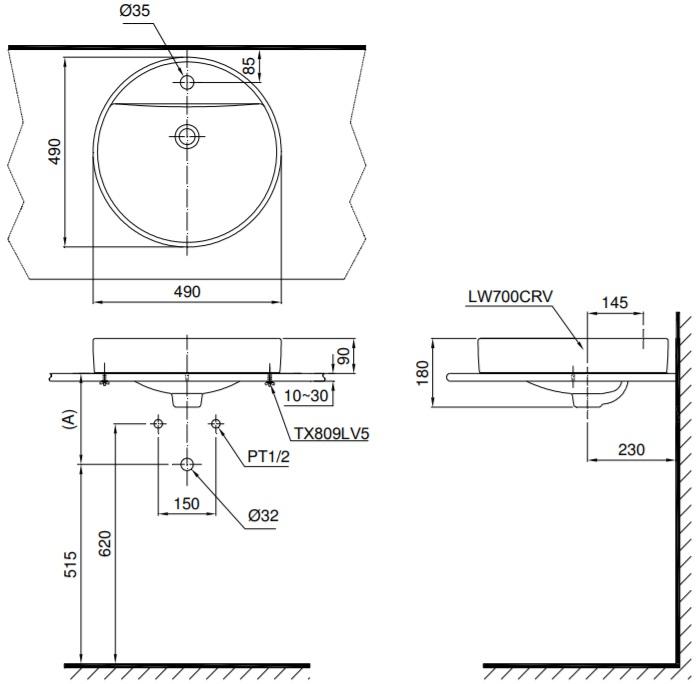Bản vẽ kỹ thuật sản phẩm chậu rửa lavabo đặt bàn TOTO LT700CTR