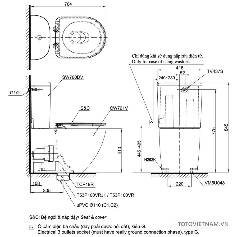 Bản vẽ kỹ thuật bồn cầu TOTO CS761DT5