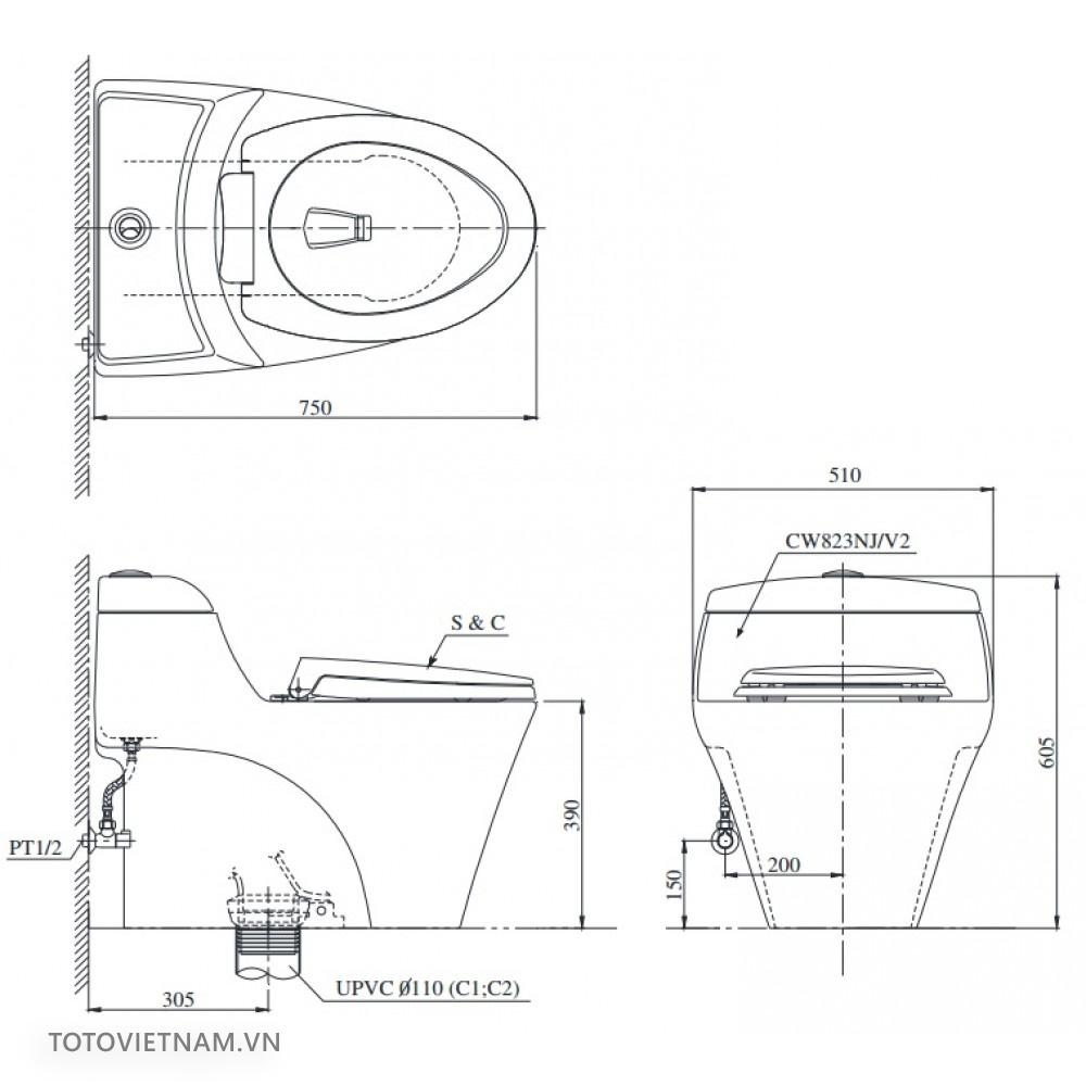 Bản vẽ kĩ thuật TOTO CW823NW/F