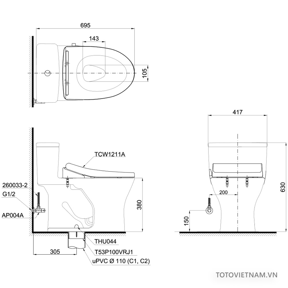 Bản vẽ kỹ thuật bồn cầu MS855DE4
