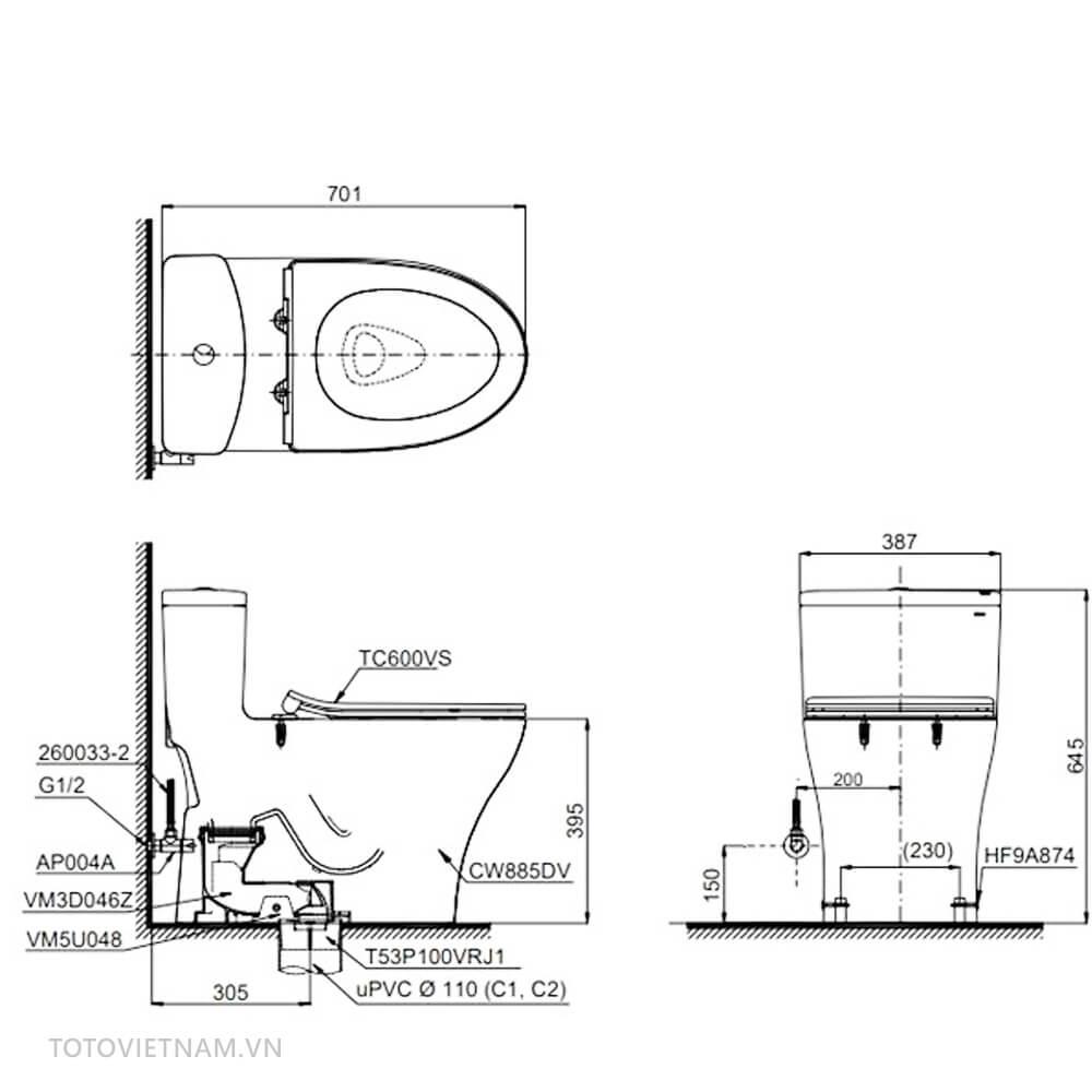 Bản vẽ kỹ thuật Toto MS885DT3