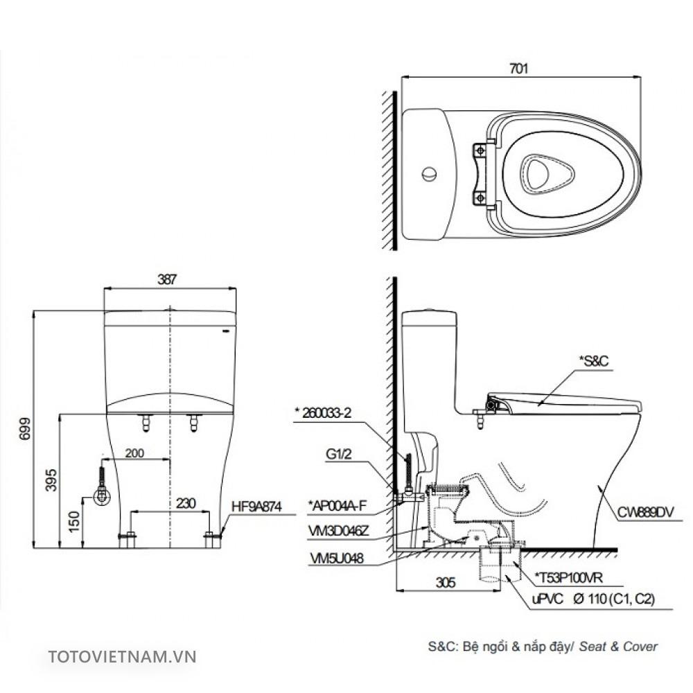 Bản vẽ kỹ thuật bồn cầu MS889CDW12