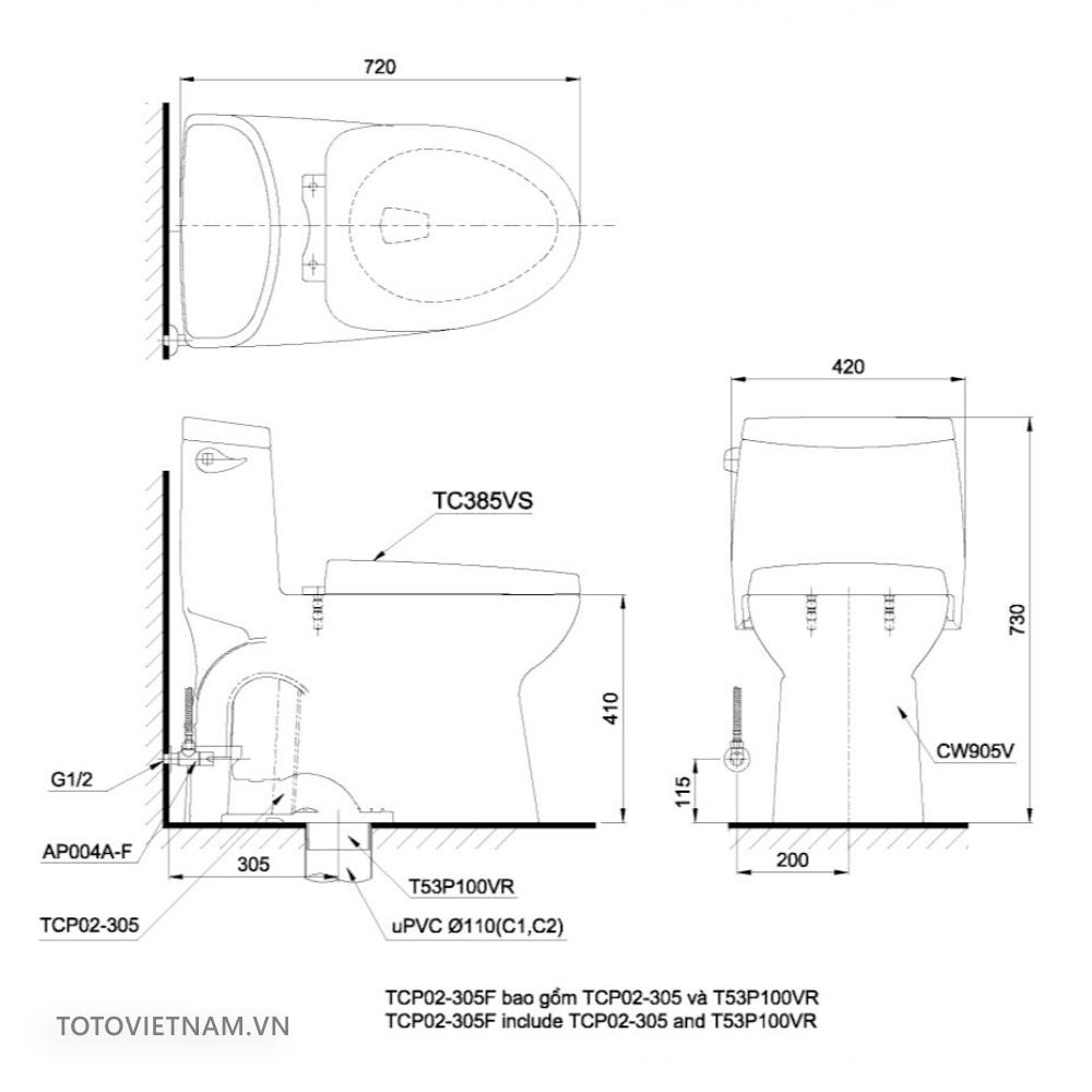 Bản vẽ kỹ thuật TOTO MS905E4