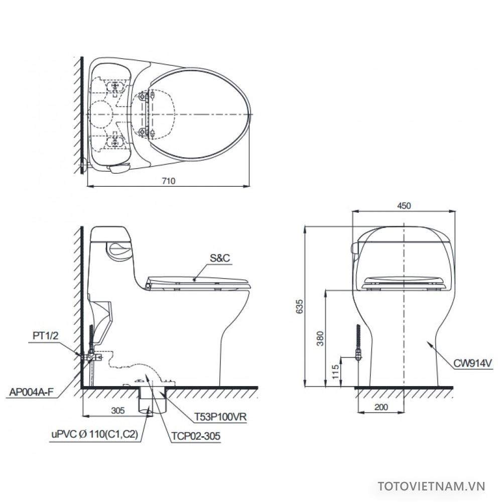 Bản vẽ kỹ thuật TOTO MS914T3