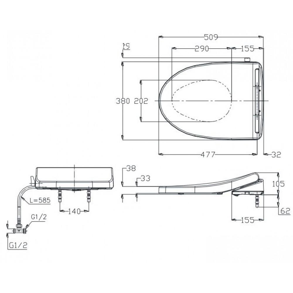 Bản vẽ kỹ thuật nắp rửa lạnh TOTO TCW1211A