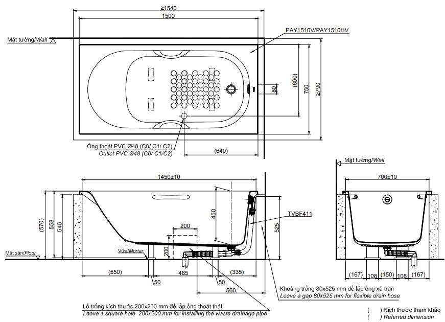 Bản vẽ kỹ thuật bồn tắm xây TOTO PAY1510HV#W/TVBF411