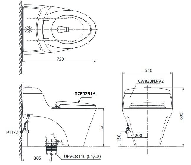 Bản vẽ kĩ thuật TOTO CW823W/F