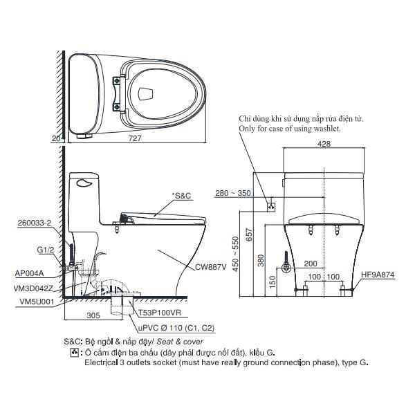 Bản vẽ kỹ thuật bồn cầu MS887RW7