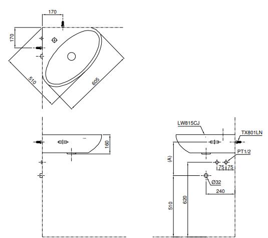 Bản vẽ kỹ thuật chậu rửa lavabo TOTO LW815CJW/F