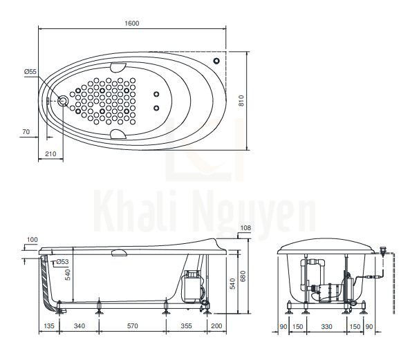 Bản vẽ kỹ thuật bồn tắm ngọc trai TOTO PPYB1610RHPWE