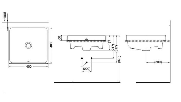 Bản vẽ kỹ thuật sản phẩm lavabo đặt bàn TOTO LW1714B