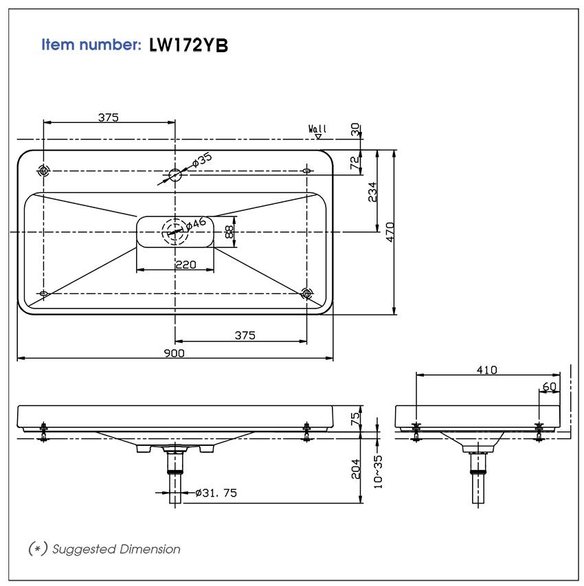 Bản vẽ kỹ thuật sản phẩm lavabo đặt bàn TOTO LW172YB