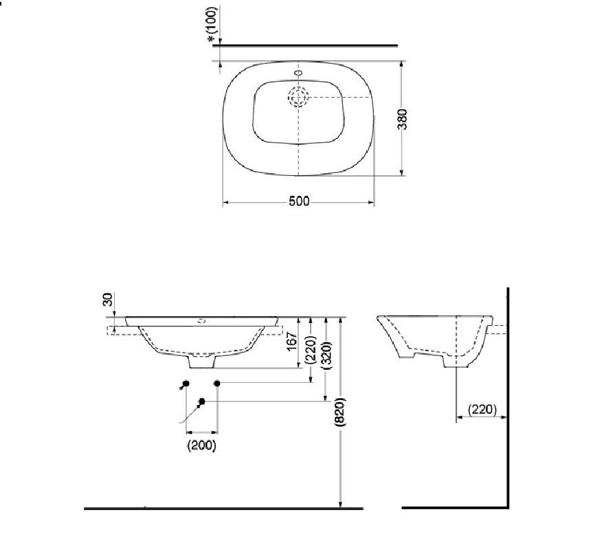 Bản vẽ kỹ thuật TOTO lavabo bán âm TOTO LW198B