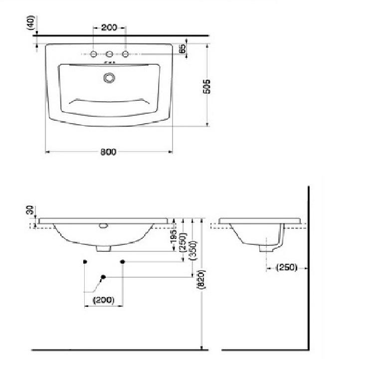 Bản vẽ kỹ thuật lavabo dương vành TOTO LW311B/HG