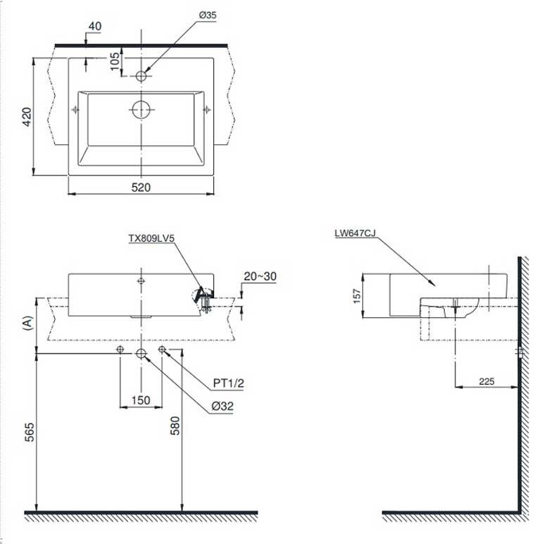 Bản vẽ kỹ thuật chậu rửa mặt TOTO LT647CR