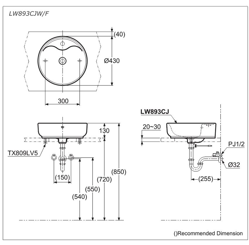 Bản vẽ kỹ thuật lavabo đặt bàn TOTO LW893CJW/F