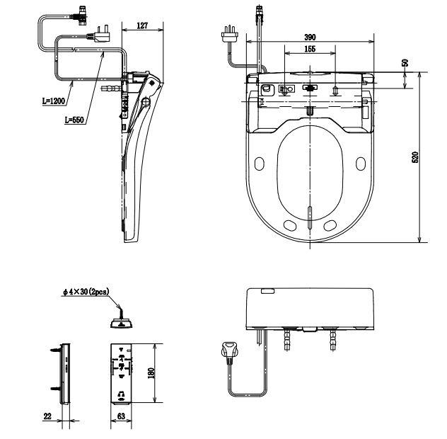 Bản vẽ kỹ thuật nắp rửa điện tử TOTO TCF4732A