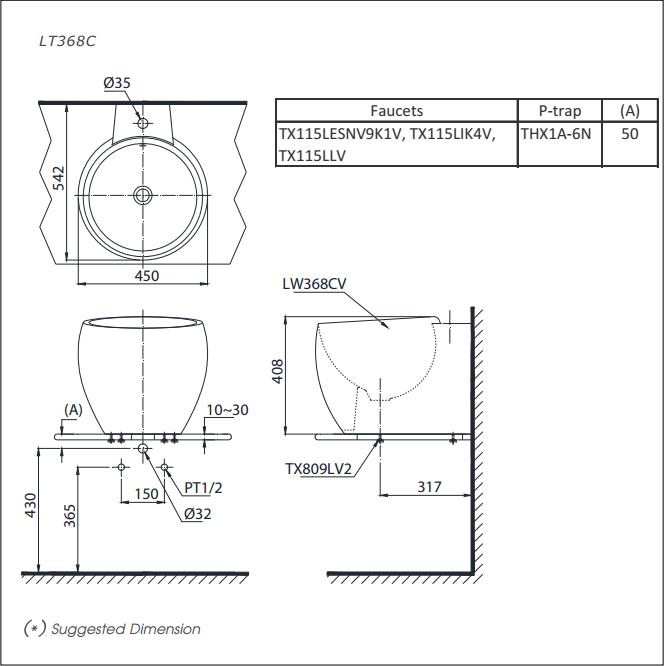 Bản vẽ kỹ thuật Chậu rửa lavabo đặt bàn TOTO LT368C