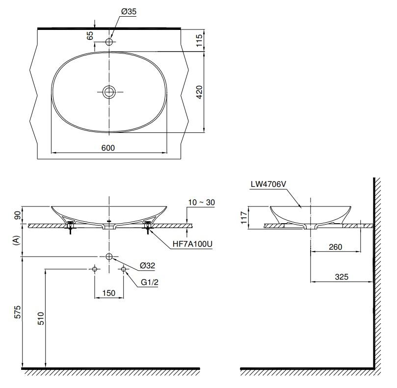 Bản vẽ kỹ thuật lavabo đặt bàn cao cấp TOTO LT4706