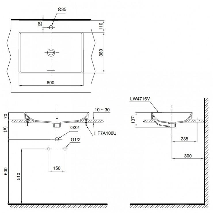 Bản vẽ kỹ thuật lavabo đặt bàn cao cấp TOTO LT4716