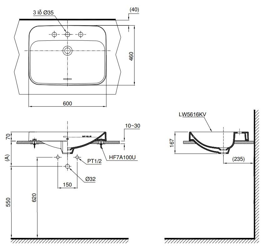 Bản vẽ kỹ thuật sản phẩm lavabo đặt bàn Toto LT5616C
